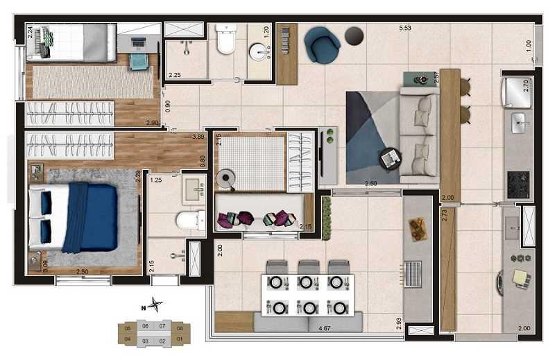Apartamento Reserva Tibagy Planta Helio Manzoni